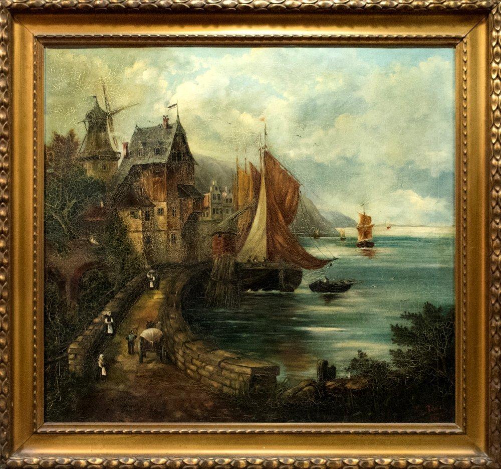 Very Large 18th Century Seascape by Lina Radelt