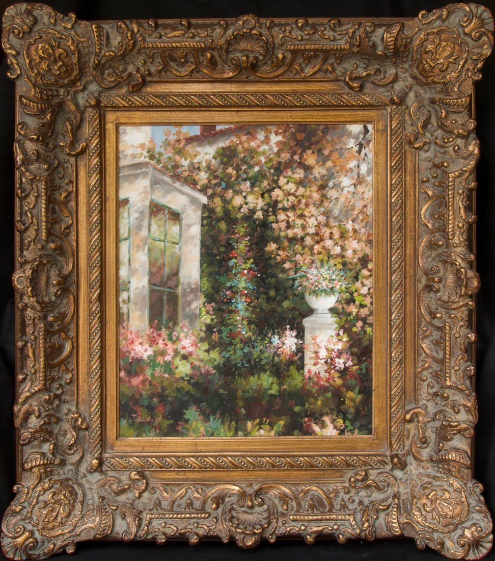 Large Floral Landscape Oil Painting by John Adjore