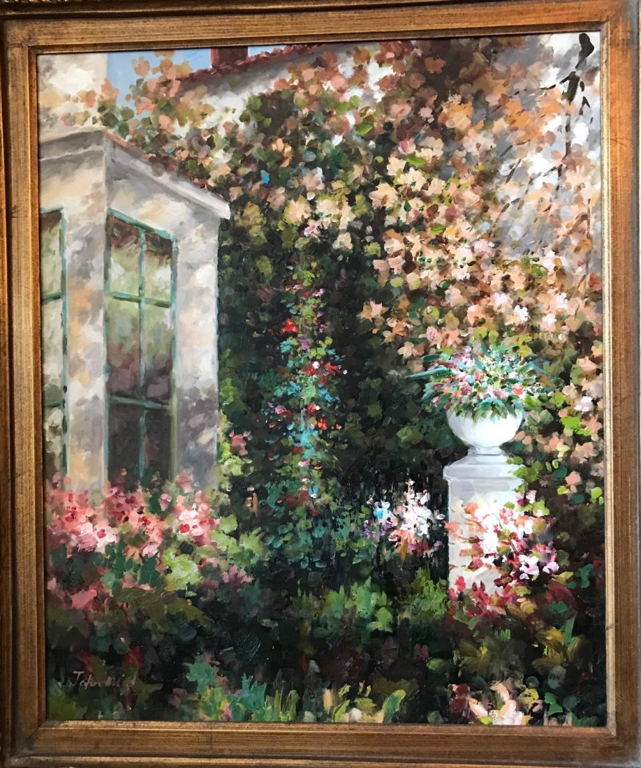 Large Floral Landscape Oil Painting by John Adjore - 2