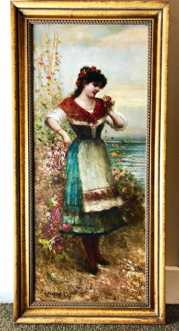 "Ferroni Italian Oil Painting | ""Woman with a Basket"""
