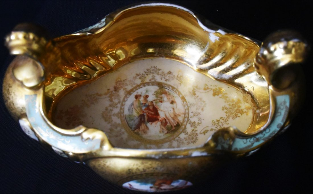 Antique Hand Painted and Gilded French Porcelain Bowl - 4