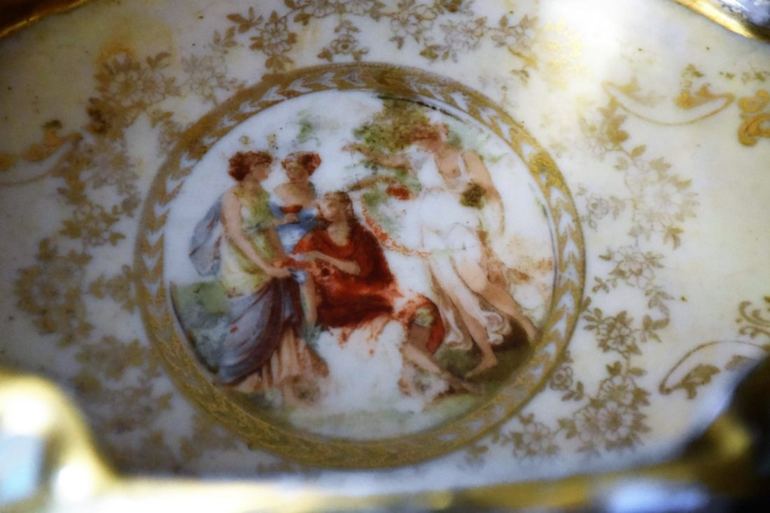 Antique Hand Painted and Gilded French Porcelain Bowl - 5