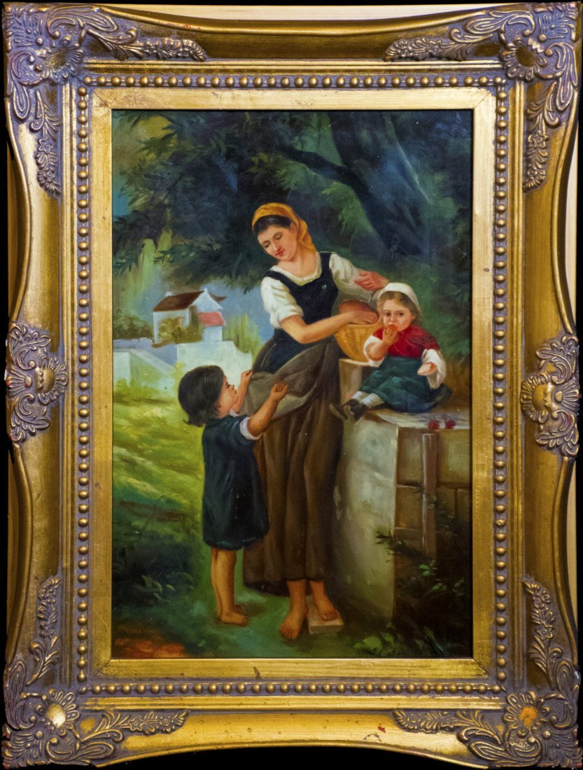 Antique Continental Oil Painting of Mother & Children