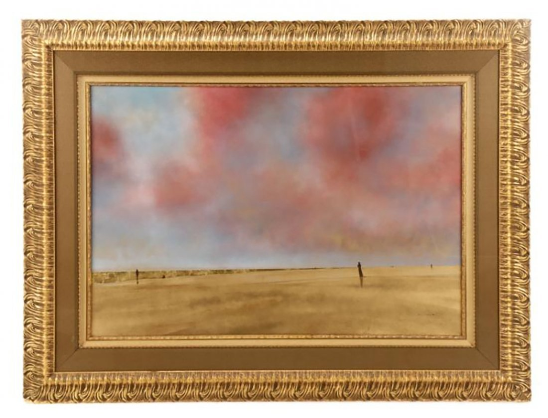 "Peter Polites Mixed Media Painting ""Golden Beach"" 1998"
