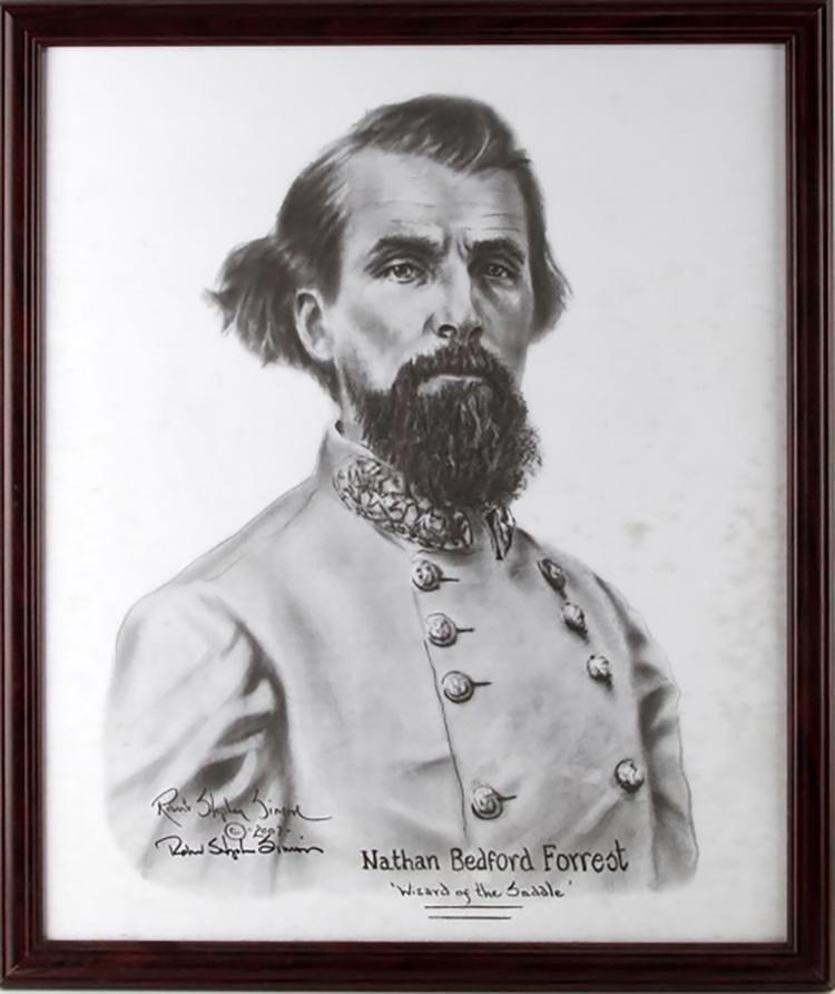 Original Civil War Portrait Drawing of Nathan B Forrest