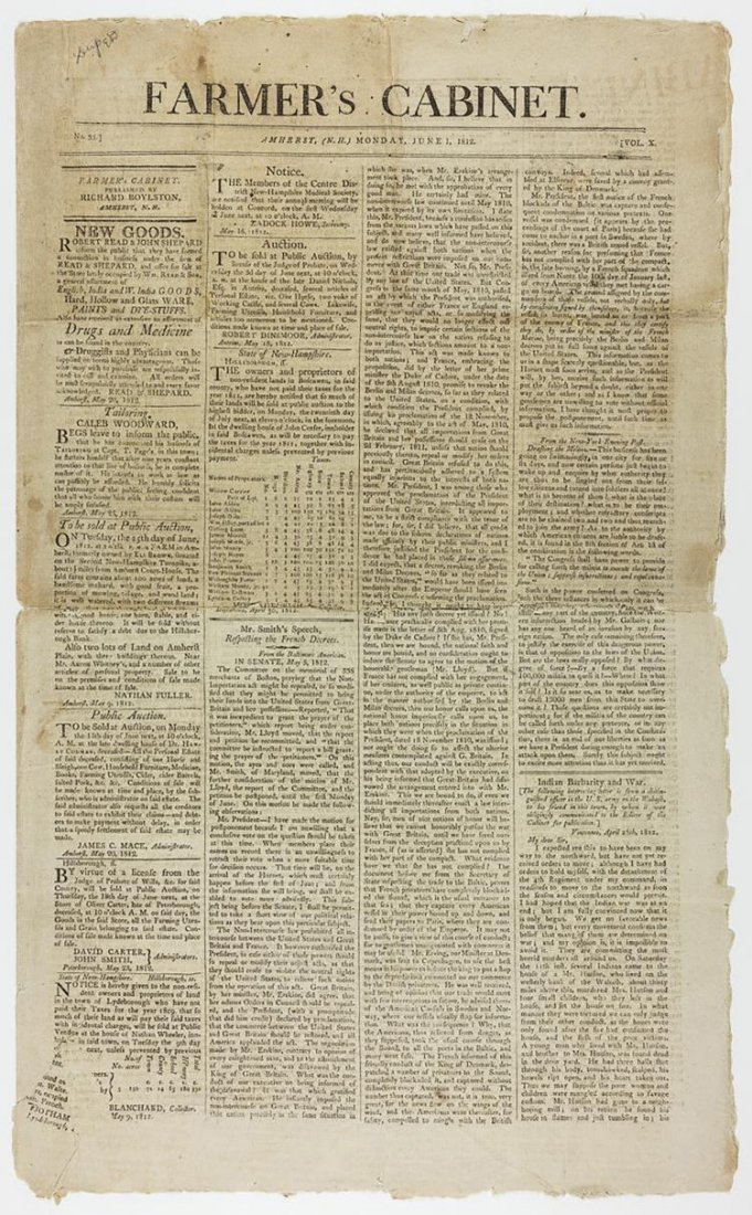 Remarkable War of 1812 Newspaper Articles
