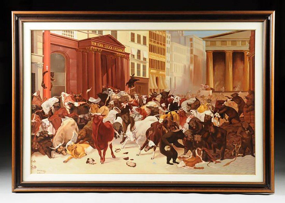 "Huge Oil Painting ""NY Stock Exchange, Bulls & Bears"""