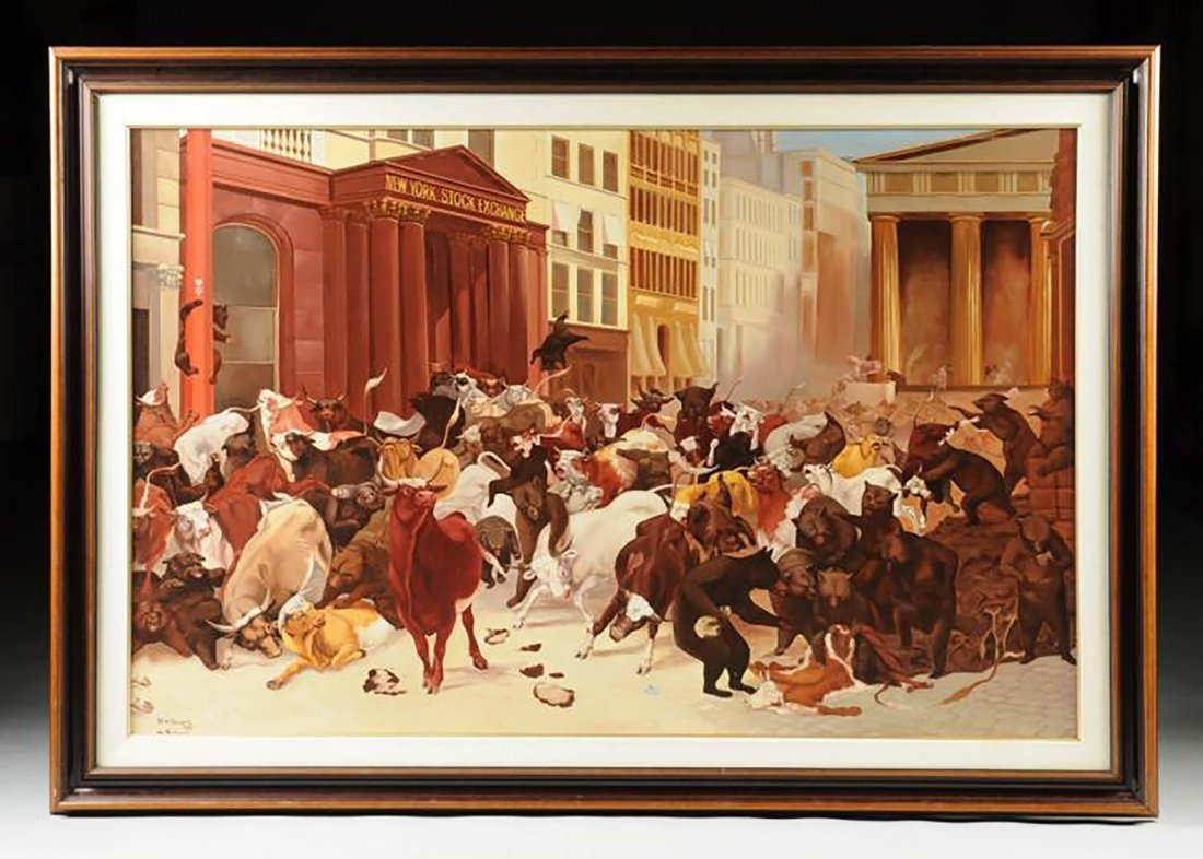 "Huge Oil Painting ""NY Stock Exchange, Bulls & Bears"""