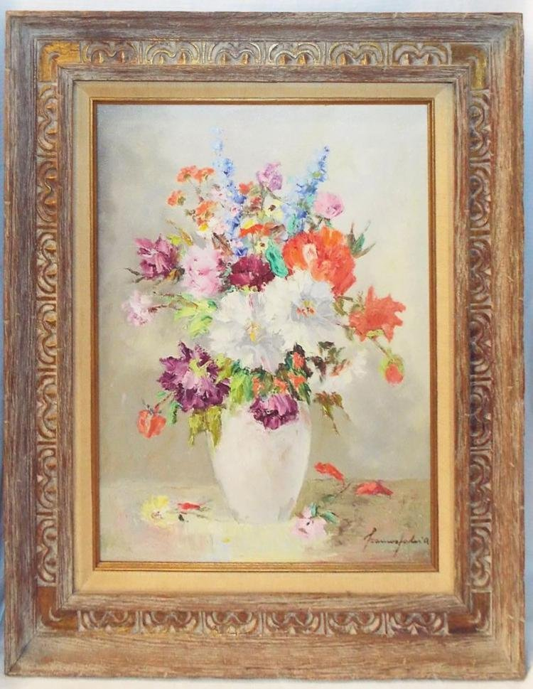 Beautiful French Still Life Floral Oil Painting