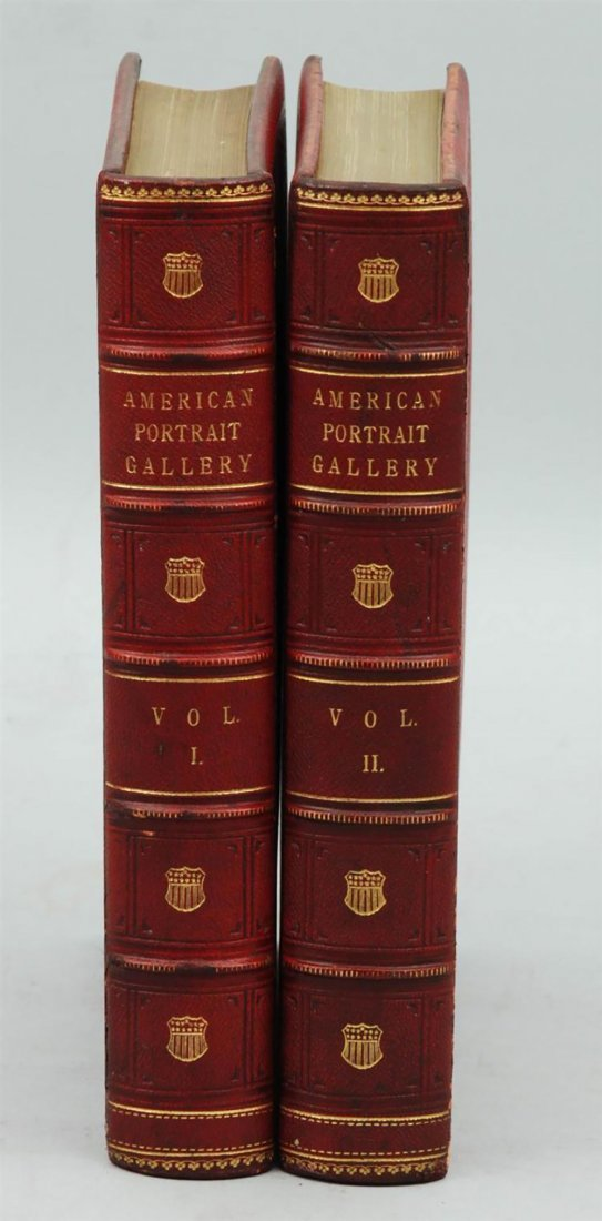 19th Century Leather Book The American Portrait Gallery