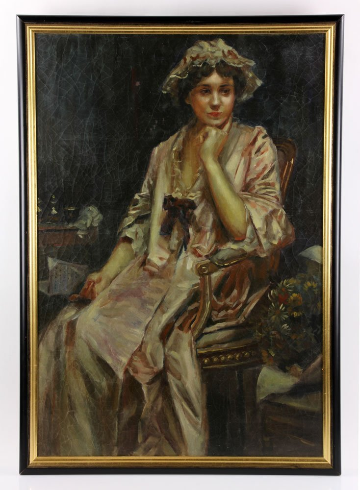 Large 19th Century Oil Painting - Portrait of a Woman