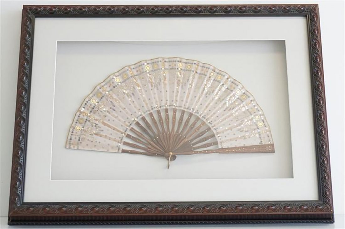 19th Century Hand Carved Sandalwood Silk Fan