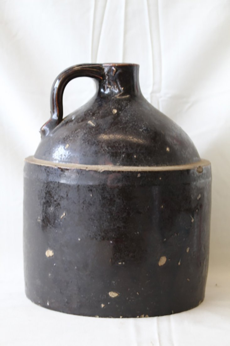 Antique Hand Spun Early Brown Glaze Stoneware Jug
