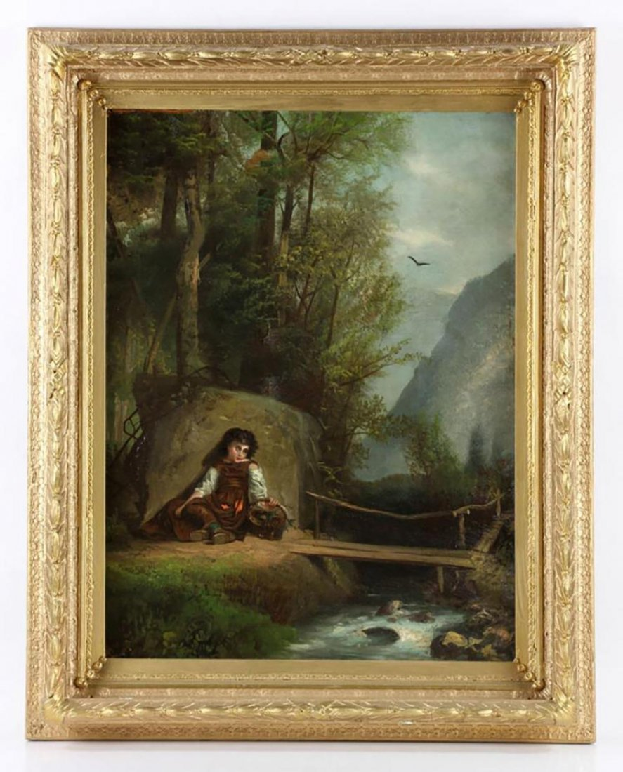 19th Century Signed Burr Oil On Canvas