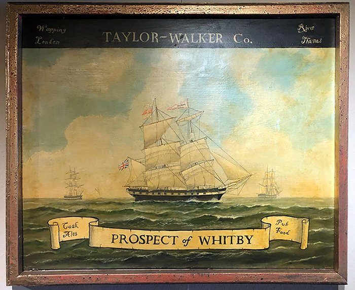 Large Antique English Tavern Sign From The Whitby Pub