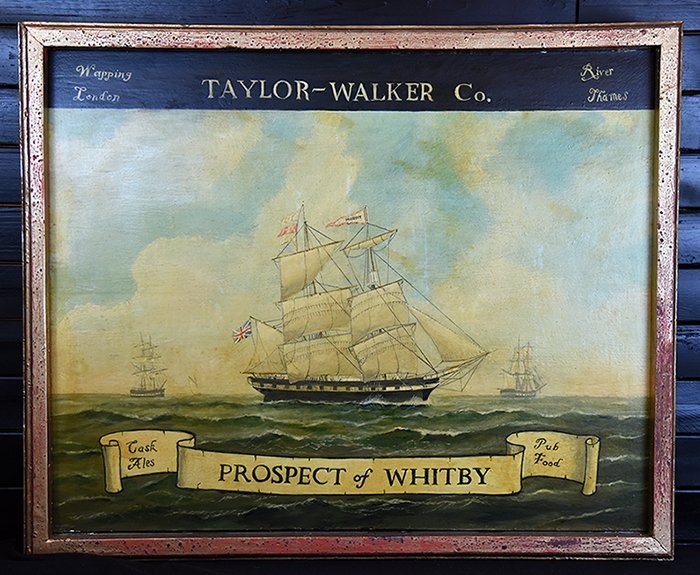 Large Antique English Tavern Sign From The Whitby Pub - 3