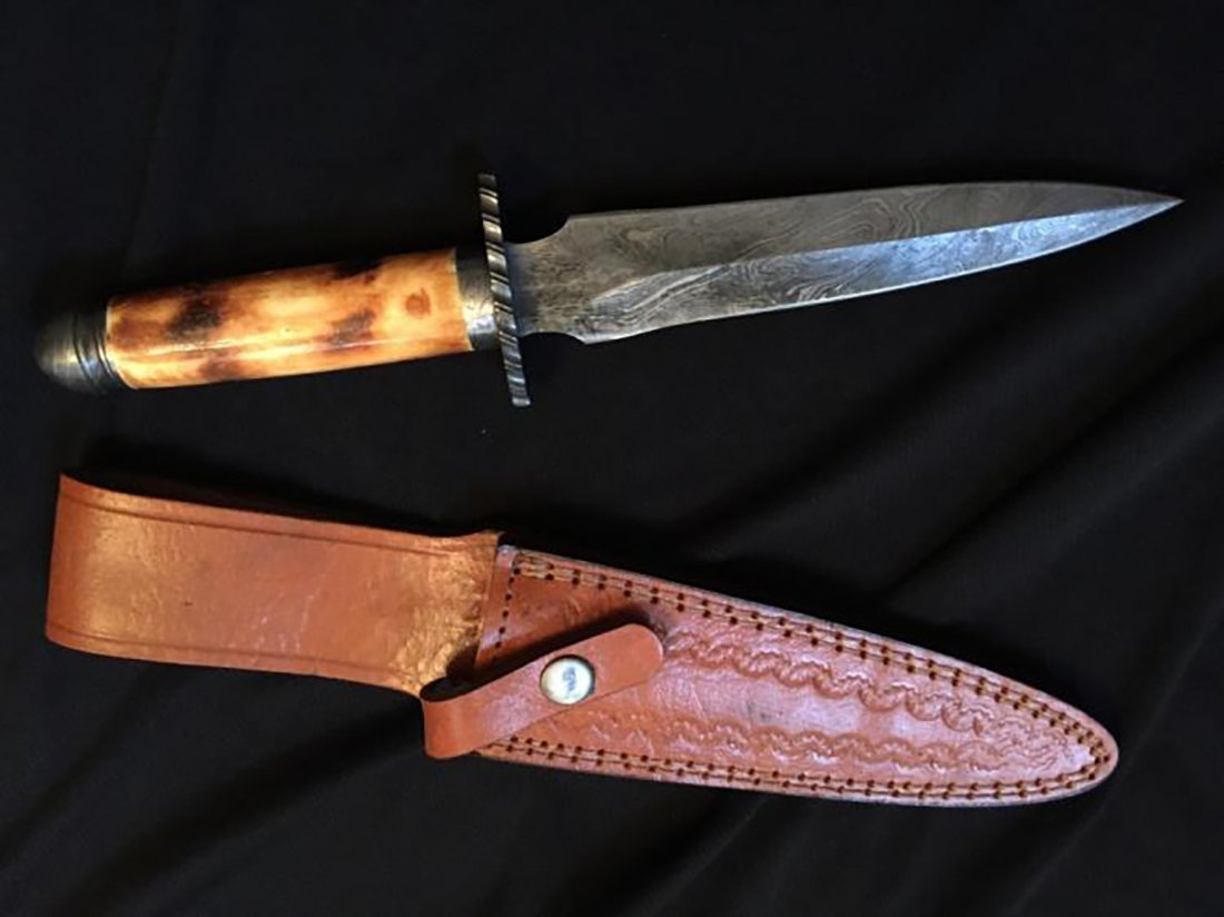 Custom Damascus Steel Camel Bone Dagger
