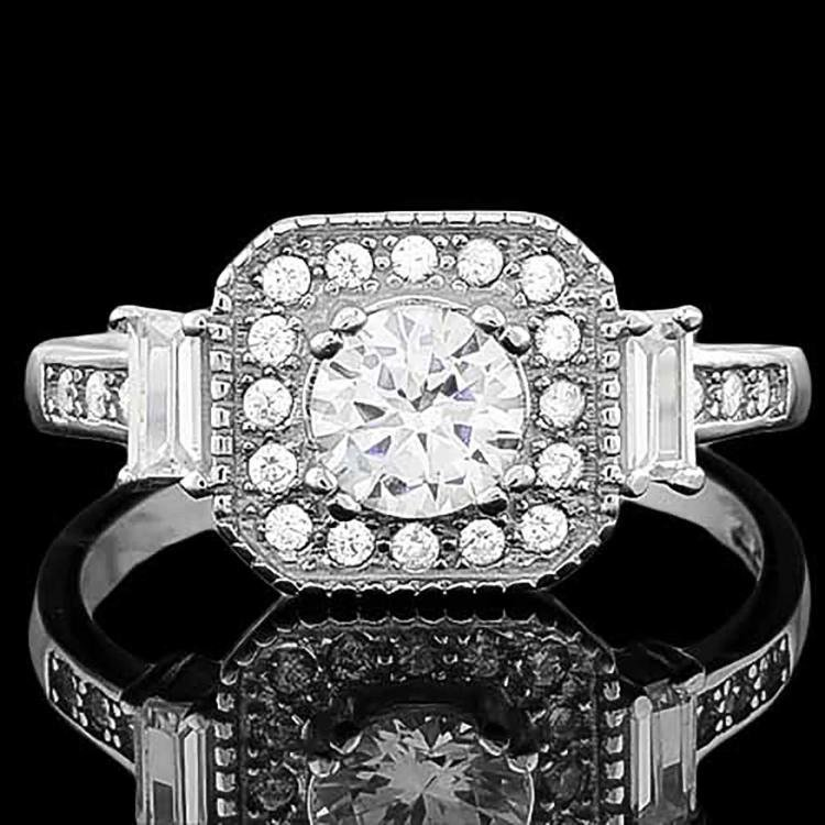 4/5 Carat Diamond .925 Sterling Silver Halo Ring
