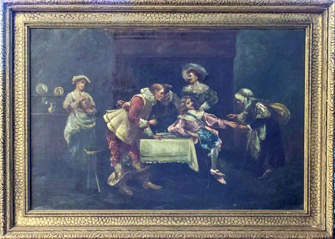 18th C. French Figurative Oil Tavern Scene by DeMaurce