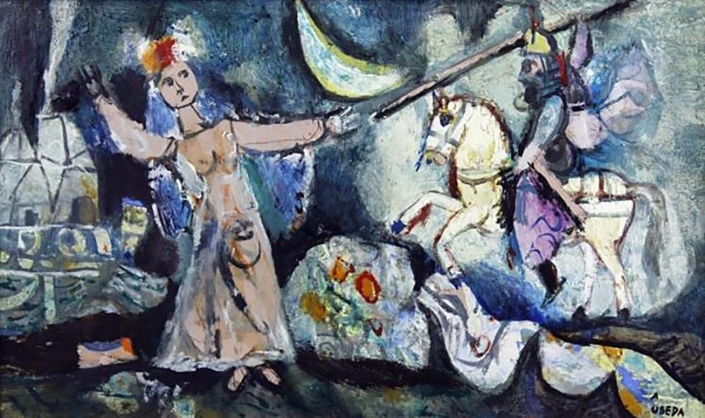 """Augustin Ubeda Figural Oil Painting Entitled """"Nefertiti - 2"""