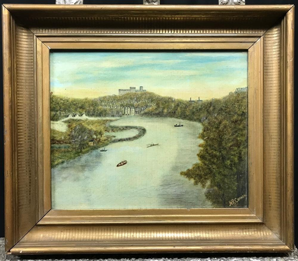 Antique English Landscape Oil Painting by H. R. Curwen