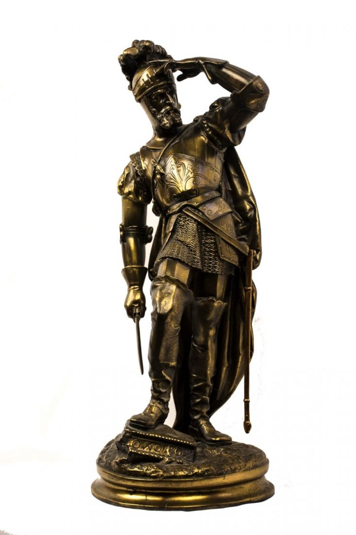 Gilded Bronze Sculpture of a Knight in Armor