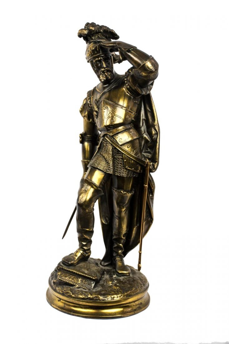 Gilded Bronze Sculpture of a Knight in Armor - 5