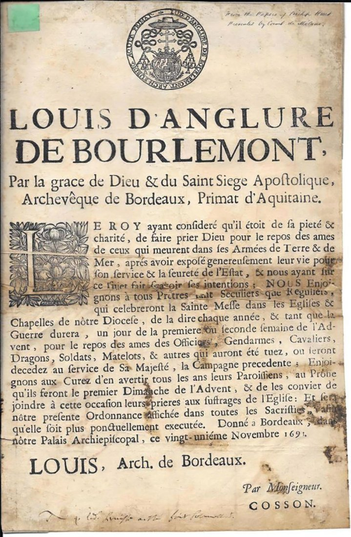 1691 French Broadside Signed by Louis d'Anglure Bourlem