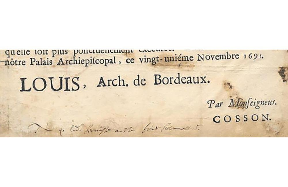 1691 French Broadside Signed by Louis d'Anglure Bourlem - 4