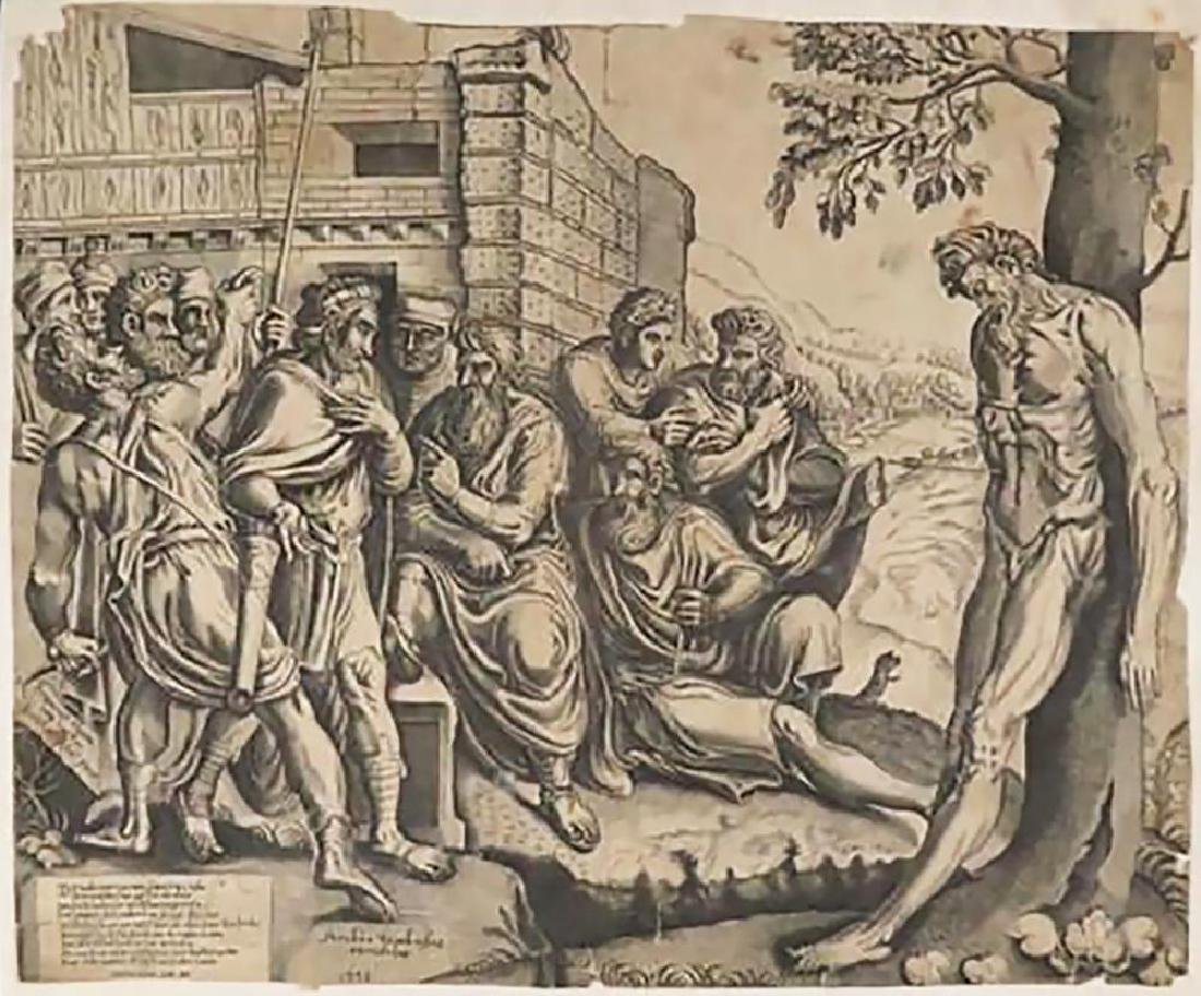 "Rare Frans Floris Engraving ""Gesta Romanarum"" 1558"