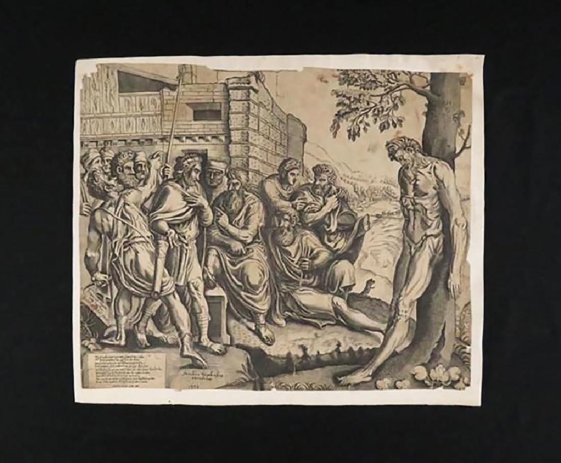 "Rare Frans Floris Engraving ""Gesta Romanarum"" 1558 - 2"