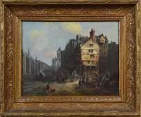 "Adrianus Eversen ""Dutch Townscape with Figures"""