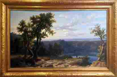 """Franz Kneble Swiss Painting""""View of the Roman Campagne"""""""