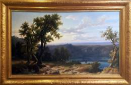 Large Franz Kneble Swiss Landscape Oil Panting