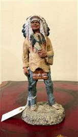 Signed Monfort Indian Sculpture Titled SIOUX CHIEF