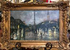 19th c French Figural Streetscape Impasto Oil Painting