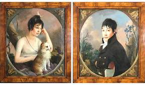Pair of Early 19th Century Portrait Oil Paintings