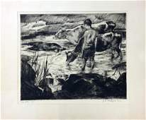John Costigan LEd Signed Original Etching BOY WITH COWS