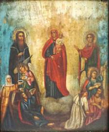 Large 18th c. Russian Icon on Wood Panel