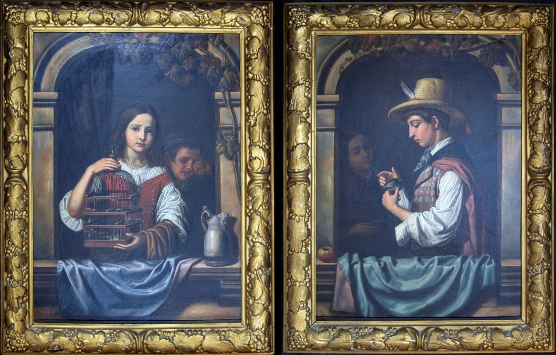 Pair of 19th c. Italian Portrait Oil Paintings, Signed