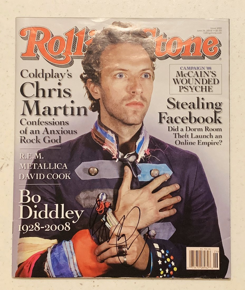 Signed Chris Martin Coldplay Rolling Stone Magazine