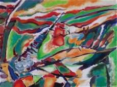 Original abstract on canvas Steve Elliot
