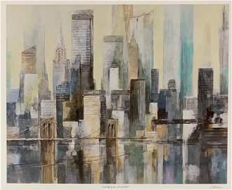 Watercolor Cityscape by Philippe Leblanc (Hand Signed