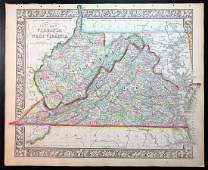 Civil War County Map of Virginia & West Virginia, 1863