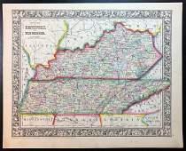 Civil War Era County Map of Kentucky & Tennessee, 1860