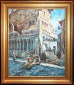 19th c Streetscape Oil Painting by Frank Renault