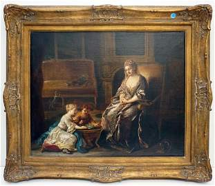18th c. French Interiorscape Oil by Jean Louis Tocque