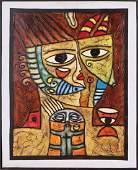 Large Modern Cubist Portrait Painting by Jesus Ravelo