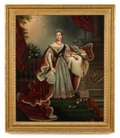 Antique 19th c. British School Portrait Oil Painting of