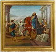 Italian Figurative Oil Painting Emperor's Procession